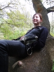 Tab Helen relaxing in a tree.